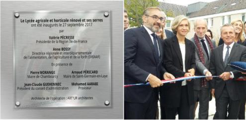 Plaque inauguration Valerie Pécresse