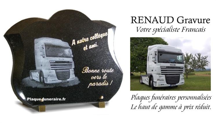 Plaque funéraire camion pour routier