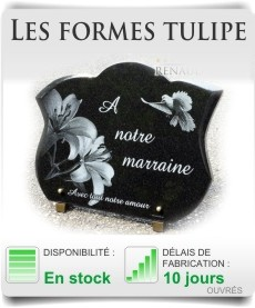 Plaques fun�raires personnalisables forme tulipe galb�e