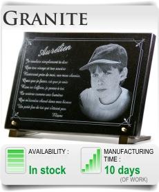 Granite memorial plaque for headstone and cemetery, In loving memory plaque.