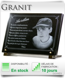 Plaque fun�raire en granit.