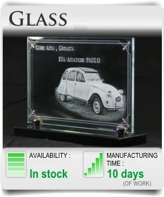 Glass memorial plaque for gravestone in cemetery. Custom glass funeral plaques.