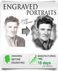 Engraved photo, portraits and photoengraving