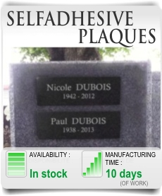 Selfadhesive and adhesive memorial plaque columbarium.