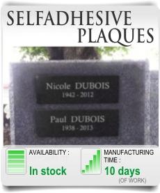 Selfadhesive and adhesive memorial plaque columbarium.