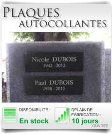 Plaque funeraire autocollante et adhésive columbarium.