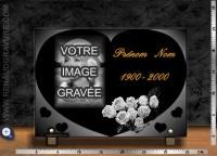 Plaque funéraire motif coeur + portrait + roses + texte or 24 carats