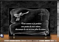 Plaque funéraire motif parchemin + colombe + croix + texte
