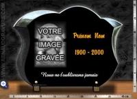 Plaque funéraire galbée + portrait gravé + texte or 24 carats