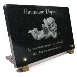 Plaque funéraire ange gravé. Pour bébé et enfant.