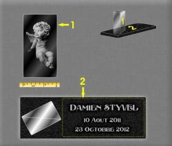 Plaque pour un monument funéraire verre