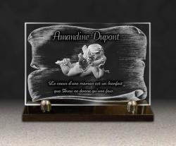 Plaque personnalisable en verre sur socle en granit. Pour tombe d'enfant ou bébé avec ange, parchemin et textes gravés.