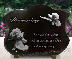 Plaque funéraire haut de gamme biseautée en forme tulipe, Ange, colombe et textes gravés.
