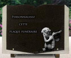 Plaque funeraire granit livre ouvert, pages taillées. Dessin ange et texte à personnaliser.