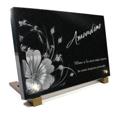 Plaque de deuil moderne avec déco. fleurs, texte funéraire à personnaliser