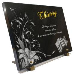 Plaque de cimetière, fleurs + drapeau Breton + textes + dorure 24 carats.