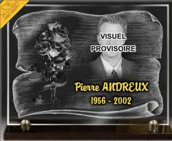 Plaque de deuil en verre sur socle granit. Photo portrait d'art + parchemin + bouquet de roses + or 24 carats.
