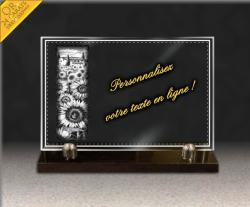 Gravure sur verre sur socle granit avec fleurs tournesol, paysage de provence, bordure déco, textes et dorure 24 carats.