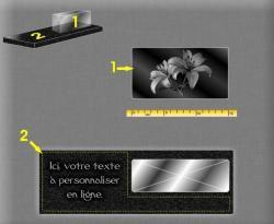 Plaque moderne avec : Bloc verre 15x8x5cm sur base granit 30x10x2cm, gravure sur verre et granit.