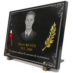 Plaque pour ancien combattant avec drapeau, palme et portrait