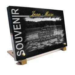 Plaque mortuaire, Plan d'eau avec nénuphars pour pêcheur ou amoureux de la nature