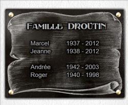 Plaque pour monument funéraire Parchemin