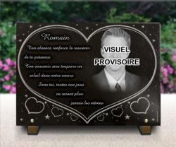 Grande plaque personnalisée avec photo, portrait gravé, coeurs et texte