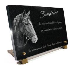 Plaque funéraire cheval avec gravure à personnaliser