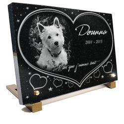Plaque funeraire chien West Highland White Terrier avec coeur et texte