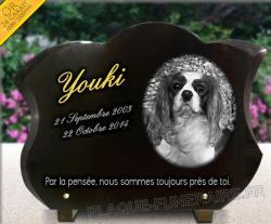 Plaque funéraire galbée pour chiens race Cavalier King Charles