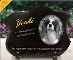 Plaque fun�raire galb�e pour chiens race Cavalier King Charles