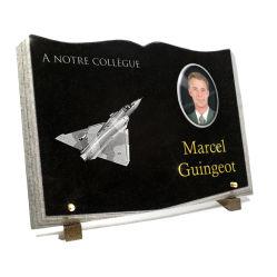 Livre granit avec photo porcelaine, dessin d'avion chasseur et dorure