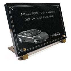 Plaque personnalisable voiture Ferrari F430 sur granit 30x20cm avec bordure d�corative