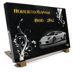 Plaque pour un monument funéraire voiture