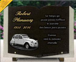 Plaque funeraire livre en granit avec dessin voiture citroen 2cv et dorure