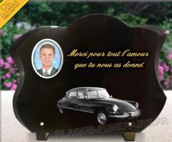 Plaque de cimetière avec vraie gravure voiture