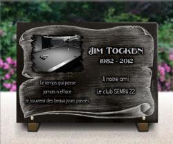 Plaque de deuil avec table de billard, boules sur parchemin gravé sur granit 35x25cm