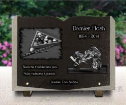 Plaque funéraire moto