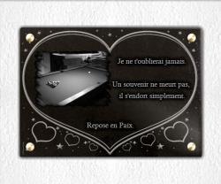 Plaque funéraire coeur à visser 35x25cm avec billard.