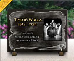 Plaque funéraire en granit avec parchemin, motif bowling et texte doré à l'or