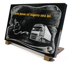 Plaque de cimetière avec vraie gravure camion