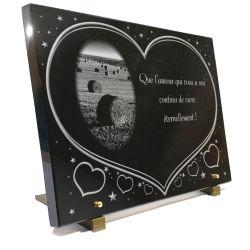 Plaque funéraire coeurs et étoiles avec motif campagne