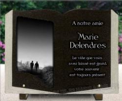 Plaque funéraire granit livre à personnaliser avec motif marcheurs en campagne et nature
