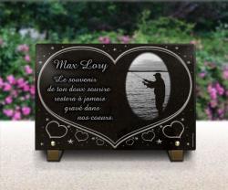 Plaque funéraire coeur avec étoiles et pêcheur