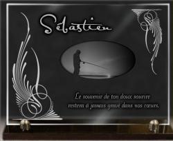 Plaque en verre 40x30 sur socle avec décor et dessin pêcheur.