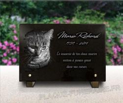Plaque funéraire personnalisée avec chat gravé dans le granit.