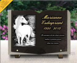 Plaque funéraire livre ouvert en granit avec cheval et texte gravé doré.