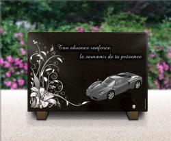 Plaque fun�raire personnalisable avec d�cor floral et voiture de luxe