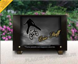 Plaque de cimetière avec motif Bmx sport cycle et vélo