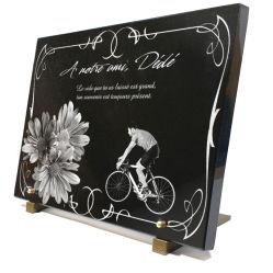 Grand format 40x30x2cm dessins fleurs, cycliste et bordure décorative